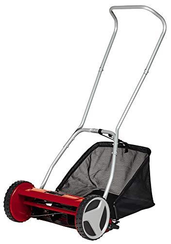 Einhell Cortacésped manual GC-HM 400 (para hasta 250 m2, husillo de corte con rodamiento de bolas con 5 cuchillas de acero de alto valor, ajuste de altura 4 niveles 13-37 mm, colector de 27l)